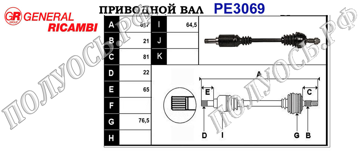 Приводной вал PEUGEOT 95601868,95624994,95648547,96033355,96042941