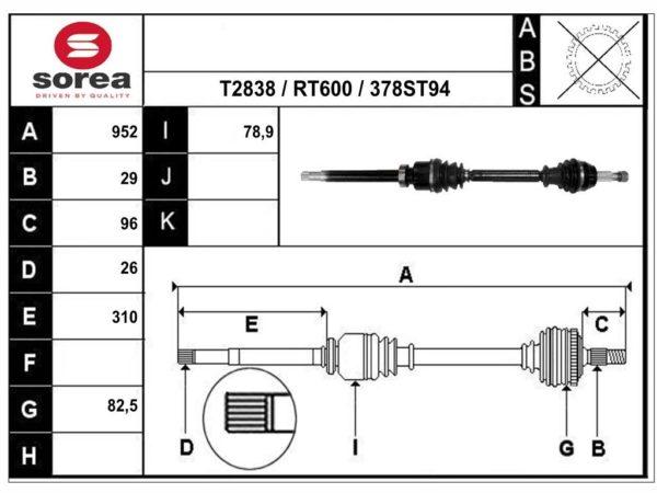 T49378 приводной вал,полуось RENAULT GRAND SCENIC IV, RENAULT SCENIC IV ОЕМ: 391000742R