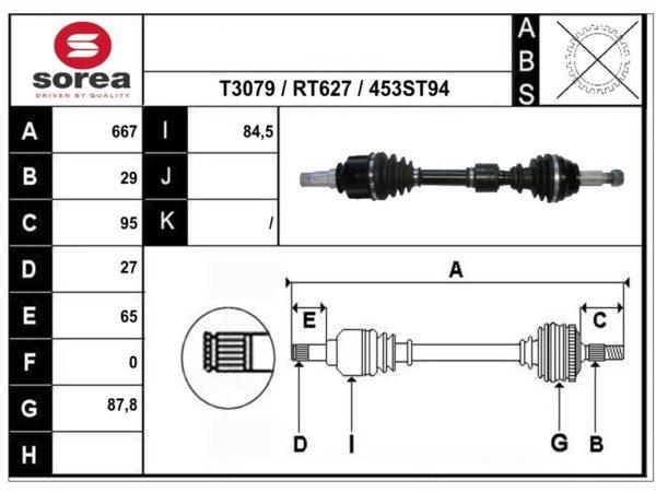 RT49453 приводной вал,полуось RENAULT ESPACE V соответствует OEM: 391014576R