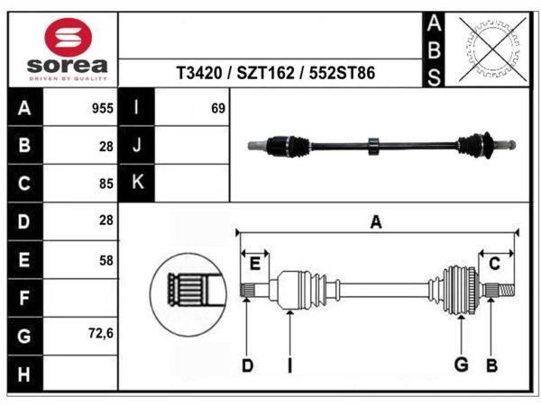 T68552 приводной вал,полуось SUZUKI SX4 II ОЕМ: 4410161M00, 4411861M00, 4411961M00