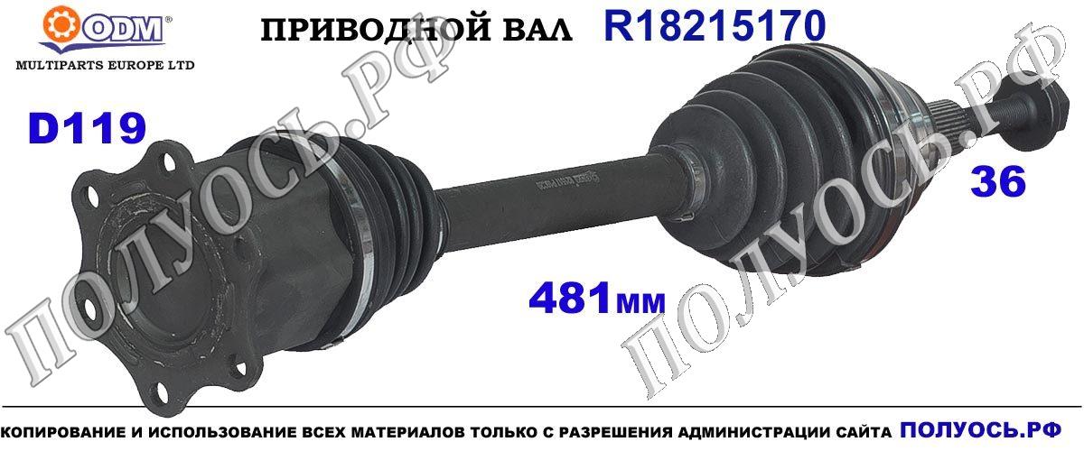R18215170 Приводной вал Odm-multiparts VW PASSAT B8 OEM: 3C0407452EX,1J0407272EL